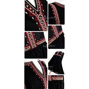She and Sky Dresses - Black Embroidery Tassel Split Neck Cute Boho Dress